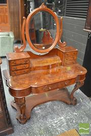 Sale 8291 - Lot 1010 - A Victorian Burr Walnut Duchess Dressing Table, with seven drawers on a platform base and later mirror (width 120, depth 50, height...
