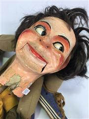 Sale 8539M - Lot 127 - Percy! Keith Absons ventriloquist doll. Pulley mechanism to operate mouth and wink, papier mache head and hands, dressed in yellow...