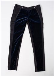 Sale 8740F - Lot 204 - A pair of Stella McCartney blue velvet and black denim pants, size 28 (brand new, with labels)