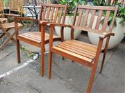Sale 8740 - Lot 1199 - Pair of Timber Outdoor Carver Chairs