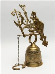 Sale 8775 - Lot 92 - An embossed brass bell with latin qui me tangit, vocem meam audit French 19th Century, total height 42cm