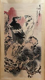 Sale 8951S - Lot 51 - Chinese Scroll of Eagles, Ink and Colour on Paper