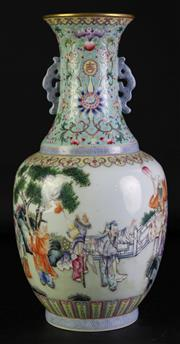 Sale 8972 - Lot 10 - A Chinese Famille Twin Handle Vase decorated with people In traditional dance (H 35.5cm)