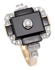 Sale 9074 - Lot 351 - A DECO STYLE 9CT GOLD DIAMOND AND ONYX RING; geometric top featuring 5 onyx panels to corners and stepped shoulders set with 18 roun...