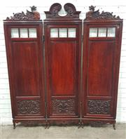 Sale 9068 - Lot 1087 - Good Victorian Carved Oak Three Panel Dressing Screen or Room Divider, with carved partly dragon crests, above bevelled peering pane...