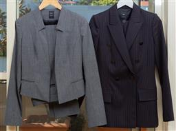 Sale 9165H - Lot 93 - Two CUE suit sets, one comprising pants and blazer in slate grey, size AUS 8, the other comprising double breasted blazer and skirt...