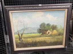 Sale 9159 - Lot 2024 - Artist Unknown  Farm in the Tropics, 1975, oil on canvas, frame: 59 x 74 cm, signed and dated lower right -