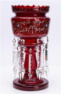 Sale 9185E - Lot 101 - A ruby red handpainted lustre with spears, Height 37cm
