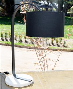 Sale 9248H - Lot 64 - A contemporary marble and black metal lamp with black shade. height 70cm