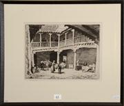 Sale 8080A - Lot 61 - Lionel Lindsay, Courtyard with Donkeys, An etching