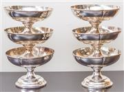 Sale 8279A - Lot 46 - A set of 6 silver plate clover leaf footed bowls, diameter 18cm