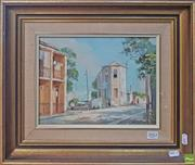Sale 8636 - Lot 2002 - Otto Kuster - The Tall House, Edgecliff oil on canvas board, 21.5 x 29cm, signed lower right
