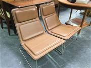 Sale 8643 - Lot 1146 - Pair Cappellini Panelled Brown Leather Chairs