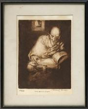 Sale 8716 - Lot 2025 - Vincent Brown (1901 - 2001) - The Book Lover 22.5 x 17.5cm