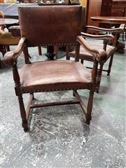 Sale 8792 - Lot 1027 - Pair of 19th Century Oak Armchairs, with studded brown leather upholstery on turned legs with stretcher base (loose stretcher and on...