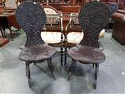 Sale 8814 - Lot 1043 - Pair of Japanese Export Carved Chairs, the balloon backs and seats carved with chrysanthemums