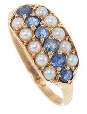 Sale 8965 - Lot 363 - A VICTORIAN PEARL AND SAPPHIRE RING; set across the top with 6 cornflower blue sapphires flanked by rows of river pearls, hallmarks...