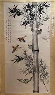 Sale 8951S - Lot 52 - Chinese Scroll of Birds in Bamboo, Ink and Colour on Paper