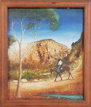 Sale 8973 - Lot 2039 - Sue Nagel The Bush Tracker oil on board, 57 x 47cm (frame), signed