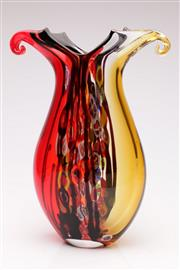 Sale 9052 - Lot 1 - An Art Glass Millefiori Vase with pinched handles(H 36cm)