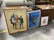 Sale 9087 - Lot 2034 - 7 Pictures incl Character Sketch by Low,  Nude Lithograph M. Bock, Fleeing Kosovo, Still Life on Canvas etc