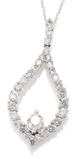 Sale 9164J - Lot 461 - A 10CT WHITE GOLD DIAMOND PENDANT NECKLACE; pear shape frame and bail set with 29 round brilliant cut diamonds to centre set with an...