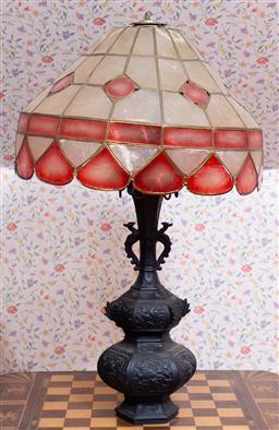Sale 9191W - Lot 712 - A cast metal base table lamp (Total height 58cm)