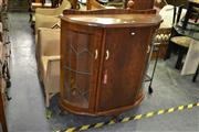 Sale 7987A - Lot 1110 - Bow Front Display Cabinet with Leadlight Panel Doors
