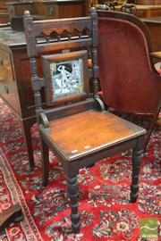 Sale 8255 - Lot 1051 - Late Victorian Walnut Hall Chair, with turned posts and arcade, with Mintons tile back  The Antiovary