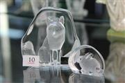 Sale 8324 - Lot 10 - Mats Jonasson Crystal Intaglio Fox Paperweight with a Smaller Rabbit Example