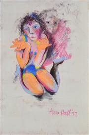 Sale 8339A - Lot 582 - Anne Hall (1945 - ) - Untitled, 1977 (Two Figures) 99.5 x 70.5cm (sheet size)
