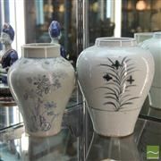 Sale 8365 - Lot 10 - Blue & White Glaze Floral Vase with Another of Differing Shape -