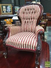 Sale 8428 - Lot 1080 - Victorian Carved Walnut Gentlemens Side Chair, with button striped upholstery