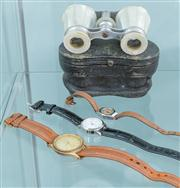 Sale 8470H - Lot 339 - A pair of cased mother of pearl opera glasses, together with sundry watches