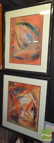 Sale 8506 - Lot 2057 - John Petrie (2 works) Untitled, 1987, pastel on paper, each frame size 90 x 76cm and signed lower right