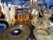 Sale 8563T - Lot 2455 - Collection of Sundries incl, Plated Tea Pots, Candle Holders, Bells & Other Metal Wares Plus Glasses