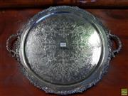 Sale 8598 - Lot 1099 - Strachan Silver Plated Double Handled Tray, with moulded border & design to well