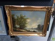 Sale 8613 - Lot 2032 - M Jeffries (English) - River Fishing oil on board, 29 x 39.5cm, signed lower right