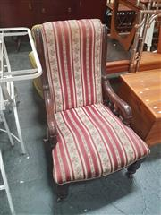 Sale 8666 - Lot 1060 - Late Victorian Mahogany Ladys Chair, with striped upholstery, low turned gallery sides & turned legs
