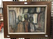 Sale 8779 - Lot 2034 - Charles Pettinger, Three Figures, 1966, pastel and charcoal on paper, 27 x 37cm, signed and dated lower right