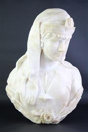 Sale 8827 - Lot 80 - 19th Century Alabaster Bust of a Maiden