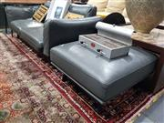 Sale 8826 - Lot 1062 - Modern 2 Seater Leather Lounge with Ottoman