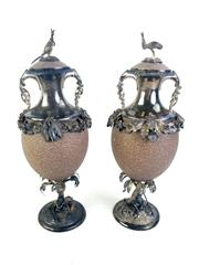 Sale 8913 - Lot 1 - Pair of Important Australian Colonial Silver Mounted Emu Eggs by Qwist of Sydney