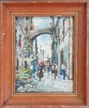 Sale 8973 - Lot 2014 - Artist Unknown  Italian Street Scene oil, 48 x 44cm, signed under frame
