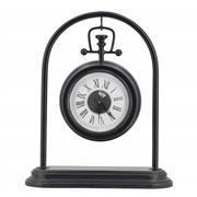 Sale 9075T - Lot 90 - Hanging Arch Iron Table Clock with a black finish. H: 34 x W: 29 x D: 10