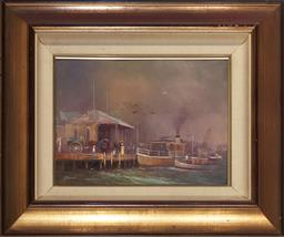 Sale 9125A - Lot 5045 - Robert Todonai (1963 - ) The Old Manly Pier oil on canvas 27.5 x 38 cm (frame: 50 x 60 x 4 cm) signed lower left