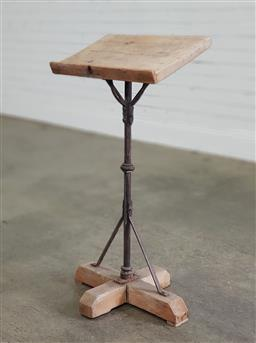 Sale 9188 - Lot 1615 - Vintage wrought iron & timber lectern stand (h90 x w47 x d29cm)