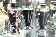 Sale 8195 - Lot 64 - English Art Deco Pair of Vases with a Hand Painted Vase