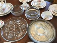 Sale 8392H - Lot 110 - A small group of glass and EP serving wares including bowls and platter