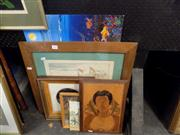 Sale 8429A - Lot 2063 - Wooden Plaque, Watercolours, Davidson Three Sisters oil, Engraving Berkeley; Acrylic Whales dreaming